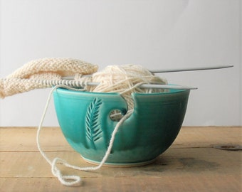 ceramic yarn bowl, turquoise feather crochet bowl,  pottery wool bowl, wheelthrown yarn bowl, knitter's bowl, unique yarn bowl
