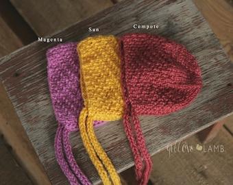 Knit newborn hat bonnet simple hat baby photo props handmade photography