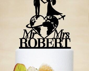 Voyage sur le thème gâteaux de mariage, Mr & Mme Cake Topper, dernier nom de gâteau personnalisé voyage mariée et le marié Cake Topper C171