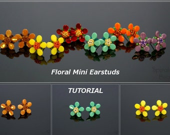 Floral Mini Earstuds - PDF beading pattern