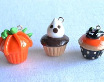 Halloween Themed Cupcake Charms - Kawaii Miniature Food Polymer Clay