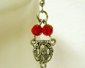 Rosary center red crystal earrings - E1030-308