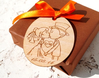 Rustic wedding favor tags, personalized engraved gift tags, custom thank you tags, set of 25