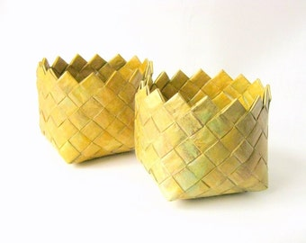 Basket hand woven ocra golden unique