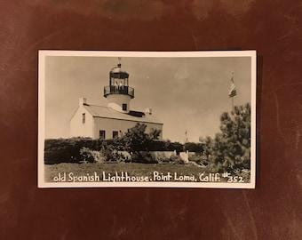 Vintage Real Photo Postcard - Old Spanish Lighthouse, Point Loma California