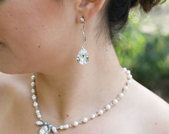 Bridal pearl and crystal necklace, Statement Bridal necklace, Wedding Rhinestone necklace, swarovski crystal and ivory pearl necklace, NORA