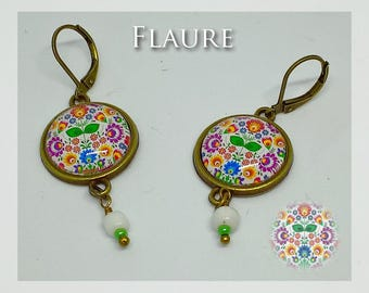 "Earrings bronze and glass ""folklore"""