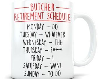 Butcher Retirement Gift for Men and Women, Retired Butcher Gift, Butcher Retirement Mug, Retiring Work Butcher, Funny Retirement Gag Gift