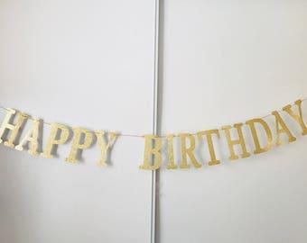 Gold Happy Birthday Banner- Sparkly gold banner- Happy Birthday banner- Birthday party decoration