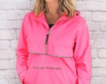 Black Friday Sale- Monogram Neon Pink Pullover Raincoat