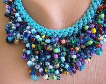 Seeds of Love  Boho necklace Sea blue multicolored  necklace-Hand crocheted Necklace-Introductory price