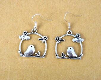 Silver bird earrings cloud flower leaf branch