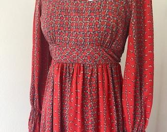 Vintage 70's Peasant Maxi Dress Cotton l S