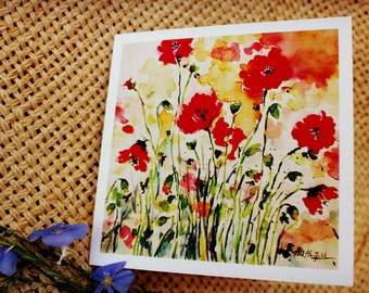 Greeting card, Art card, Poppies watercolor card, thank you card, card for her, Card with envelope, flower greeting card