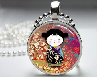 Japanese Washi Dolls Round Pendant Necklace with Silver Ball or Snake Chain Necklace or Key Ring