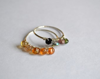 Size 6 -7.25 Sterling Silver Multi colored Gem Stone Stack Ring