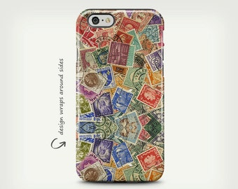 Stamps, iPhone 7 Case, Vintage Stamps, iPhone 6 Plus Case, iPhone 8 Case, iPhone X Case, Unique Gift, Galaxy S8 Case, Galaxy S8 Plus Case