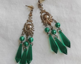 Vintage Green Dangle Earrings