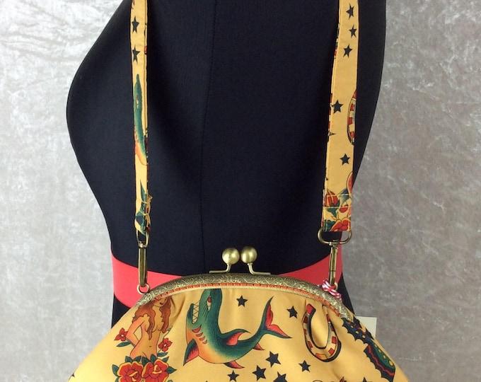 Gothic Tattoos Fabric purse bag frame handbag fabric clutch shoulder bag frame purse kiss clasp bag Handmade Alexander Henry