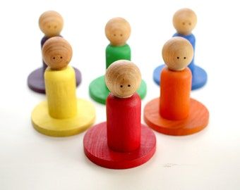 Circles and Peg People Matching Set - Classic Rainbow