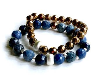 Sunset Blue Dumortierite Bohochic Bronze Sterling Silver Bracelet, for her Under 120,  Free Gift Wrap
