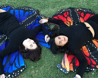 Butterfly wings/veil/shawl/bustle-- lightweight chiffon for dance or costume/cosplay/Halloween/festivals/bellydancing for adults or kids