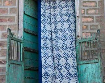 blue and white boheme curtains kitchen curtains window treatments SAMPLE SALE home decor block print home living ichcha ONE panel - Linocut