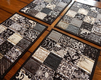 Black and White Patchwork Quilted Placemats - set of 4