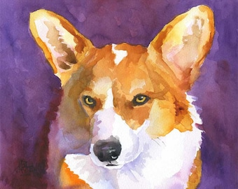 Welsh Corgi Art Print of Original Watercolor Painting - 8x10
