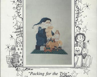 """Clearance - """"Packing for the Trip"""" Counted Cross Stitch Chart by Mosey 'n Me"""