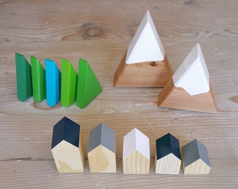 SET: 2 Snow Capped Mini Peaks +  Happy Little Neighborhood + 5 Mini Forest Trees wood house wood mountain tree snow capped village waldorf