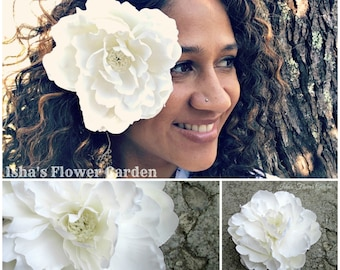 White peony hair flower clip, realistic peony, peony hair flower