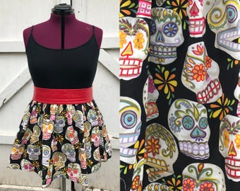 Day of the Dead sugar skull skirt, dia de los muertos, black, large/extra large