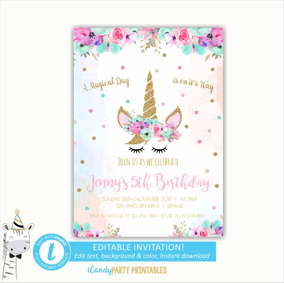 Pink unicorn invitation rainbow unicorn birthday invite stopboris Gallery