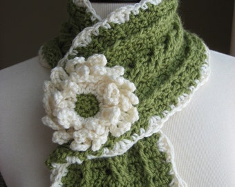 Country Crochet Cable Scarf w/ Blossom, Crochet Pattern Pdf, Instant Download Available