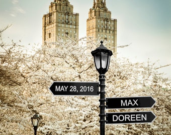 Personalized Wedding Gift - New York City - Central Park - Romantic Anniversary Gift - Customized Nyc Spring pp122