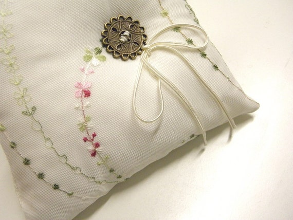 Modern Ring Pillow : Modern wedding ring pillow exquisite white satine embroidered