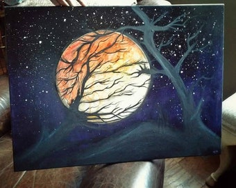 Harvest Moon, original painting, acrylics on canvas, night, galaxy, stars, trees, moonlight