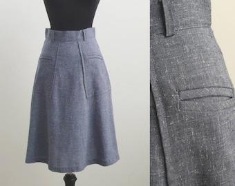 Vintage Blue Below Knee Skirt