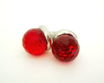 Red Ball Stud Earrings - big large bold simple statement earrings - deep red vampire red Swarovski crystal studs with stainless steel posts