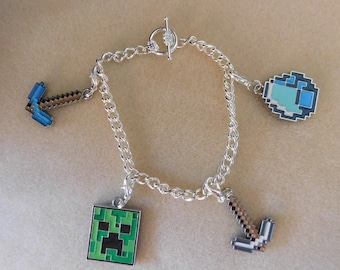 Minecraft Bracelet Silver Plated 7 inches