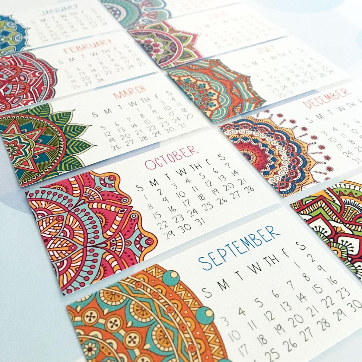 2018 Calendar Set of TWO Mandala Mini Calendar Business