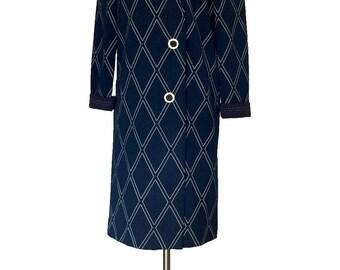 Vintage 1960s Navy Diamond Pick Stitch Mod Jacket by Stoner Square Lightweight Twiggy Coat Day Dress Shift Spring Coat