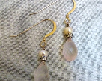 Rose Quartz, CZ, and Pearl Earrings