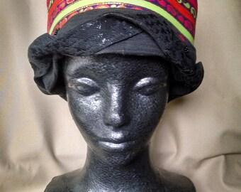 Bucket hat, Boho hat, Jeweltone hat, Vintage style hat