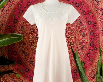 90's BRIDAL Pale Pink Lingerie Tee Slip Dress Lace Applique Sweetheart Silk Dress Minidress Small
