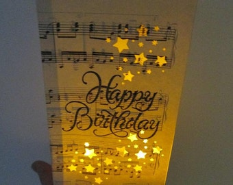 Happy Birthday Luminary Fashioned From Vintage Sheet Music Sweet 16 Party Decorations Luminaries