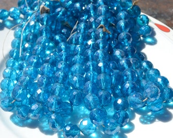 Vintage Capri Blue Luster 12mm Faceted Fire Polish Round Czech Glass Beads  25