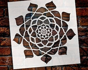 Mandala - Hypnotic - Complete Stencil by StudioR12   Reusable Mylar Template   Use to Paint Wood Signs - Pallets - Pillows - Wall Art -...