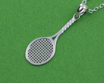 Tennis Necklace, Tennis Racket Charm